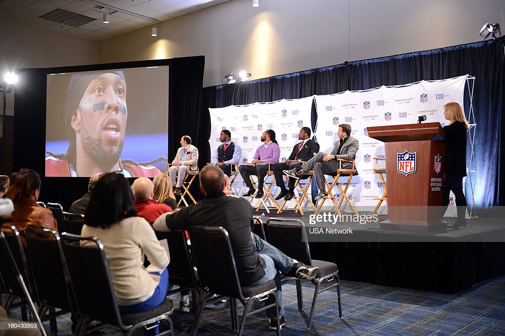 UNITE -- Super Bowl Press Conference -- Pictured: (l-r) Justin Hochberg, Justin Tuck, Larry Fitzgerald, Jameel McClain, Charlie Ebersol, Toby Grath, Senior Vice President, Public Affairs, USA Network --