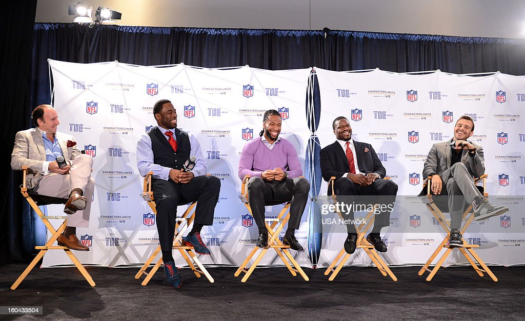 UNITE -- Super Bowl Press Conference -- Pictured: (l-r) Justin Hochberg, Justin Tuck, Larry Fitzgerald, Jameel McClain, Charlie Ebersol --