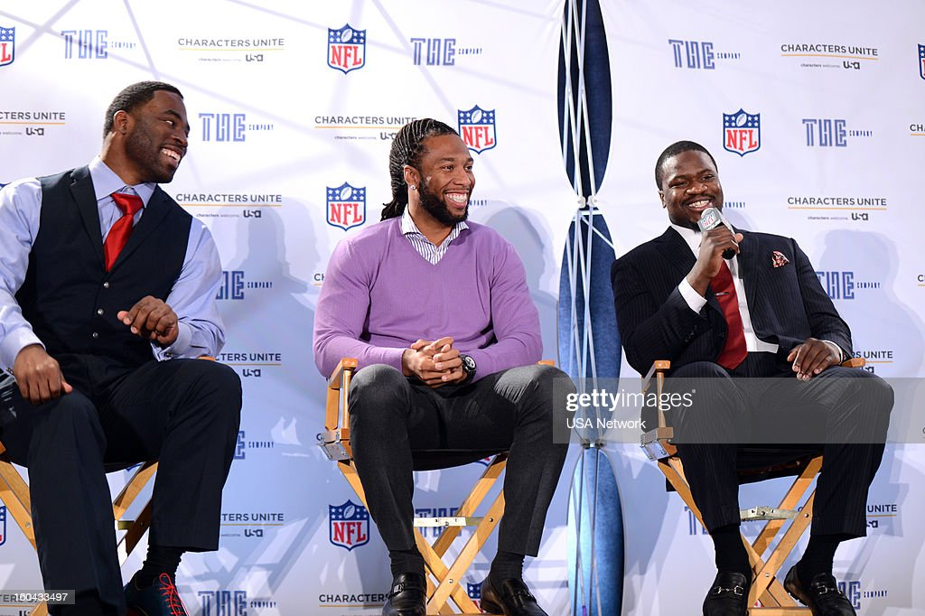 UNITE -- Super Bowl Press Conference -- Pictured: (l-r) Justin Tuck, Larry Fitzgerald, Jameel McClain --