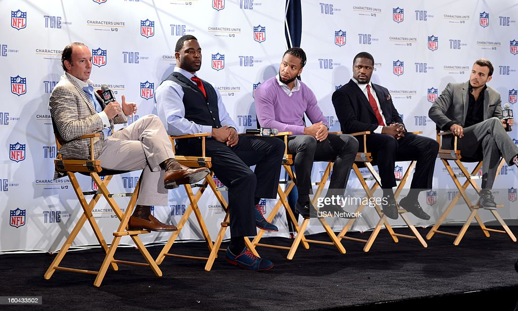 UNITE -- Super Bowl Press Conference -- Pictured: (l-r) Justin Tuck, Larry Fitzgerld, Jameel McClain, Charlie Ebersol --