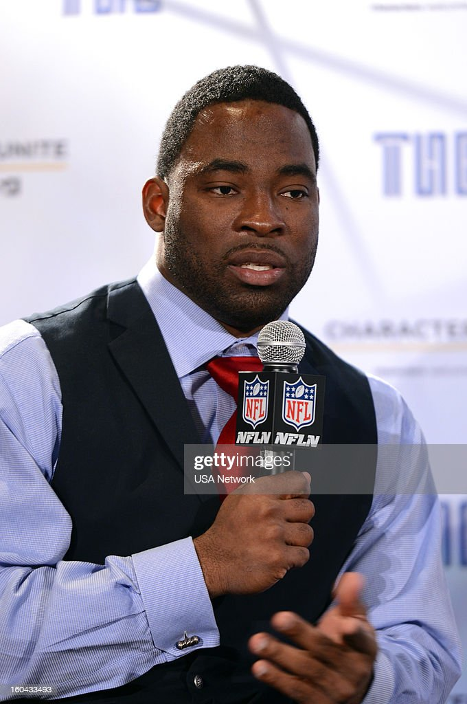UNITE -- Super Bowl Press Conference -- Pictured: Justin Tuck --