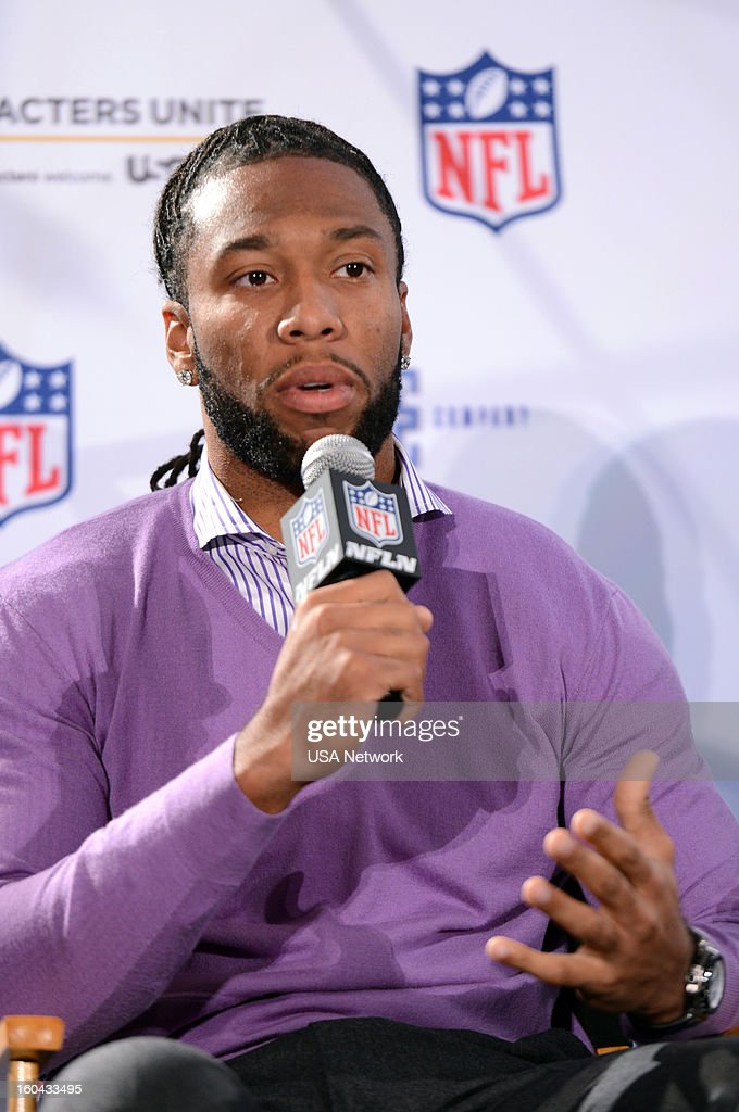 UNITE -- Super Bowl Press Conference -- Pictured: Larry Fitzgerald --
