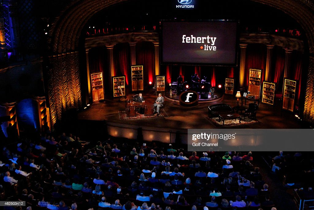 Host David Feherty and Herm Edwards speak onstage during 'Feherty Live' at the Orpheum Theatre Phoenix Arizona