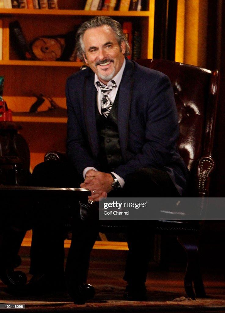 Host David Feherty speaks onstage during 'Feherty Live' at the Orpheum Theatre Phoenix Arizona