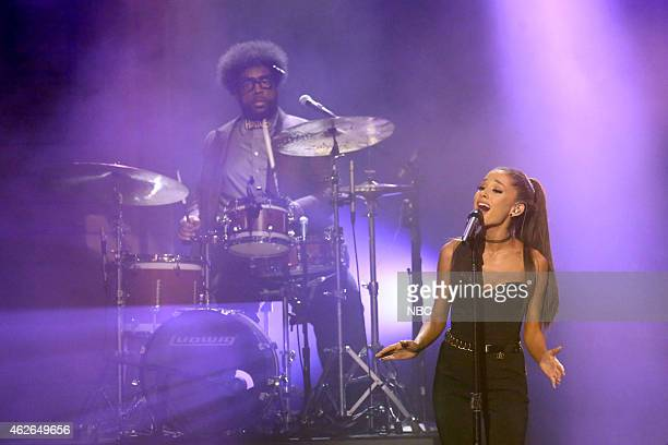 FALLON 'Super Bowl XLIX' Pictured Musical guest Ariana Grande performs with The Roots on February 1 2015
