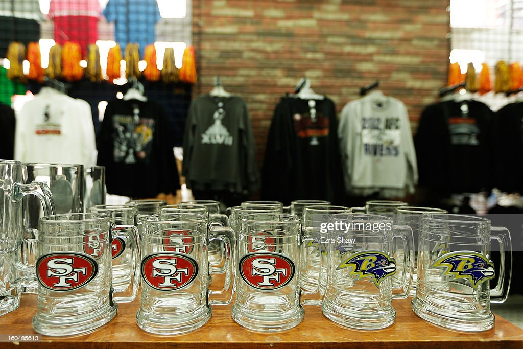Super Bowl XLVII themed glass ware is offered for sale on February 1, 2013 in New Orleans, Louisiana.