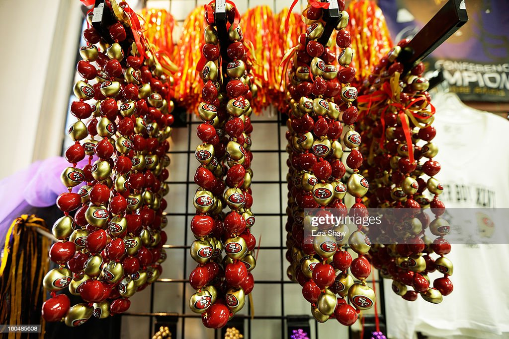 Super Bowl XLVII themed mardi gras beads are offered for sale on February 1, 2013 in New Orleans, Louisiana.