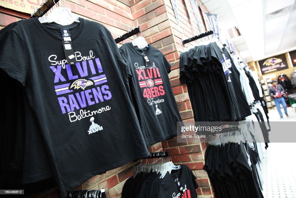 Super Bowl XLVII themed shirts are offered for sale on February 1, 2013 in New Orleans, Louisiana.