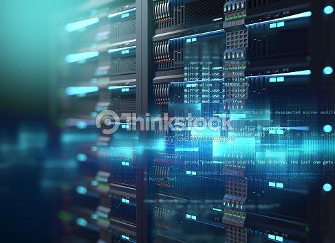 super computer server racks in datacenter. 3d illustration : Stock Photo
