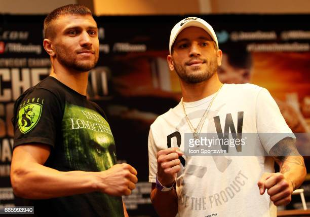 Super Featherweight boxer Jason Sosa and Super Featherweight boxer Vasyl Lomachenko during a Top Rank Championship Boxing Press Conference on April...