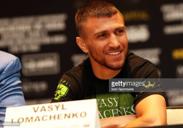 Super Featherweight boxer Vasyl Lomachenko in action during a Top Rank Championship Boxing Press Conference on April 06 at MGM National Harbor in...