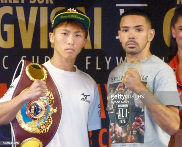 WBO super flyweight champ Naoya Inoue of Japan poses for photos with his challenger Antonio Nieves of the United States at a press conference in...