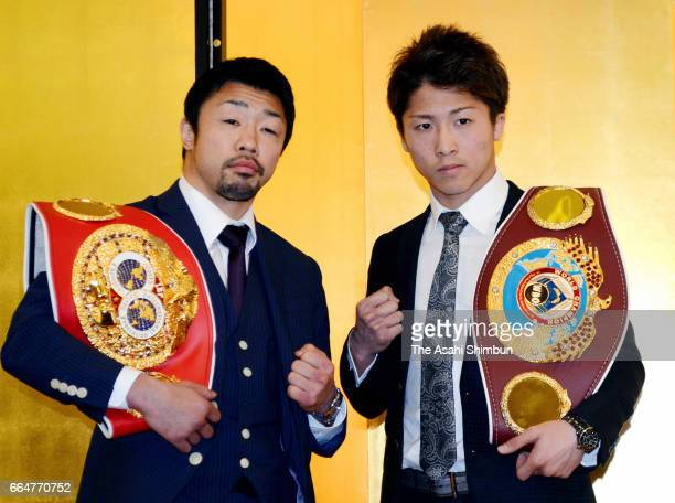 WBO Super Flyweight champion Naoya Inoue and IBF Light Flyweight second ranking Akira Yaegashi pose for photographs during a press conference on...