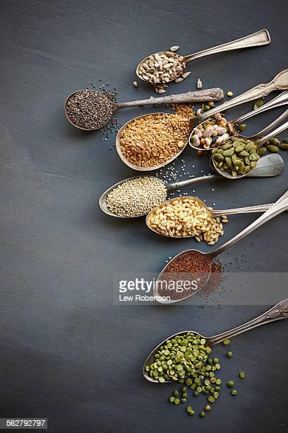 Super food grains on spoons