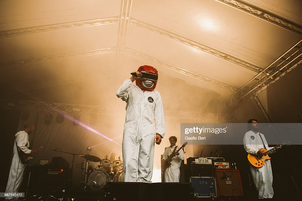 Super Furry Animals perform during the Caught By The River Thames festival at Fulham Palace on August 7 2016 in London England