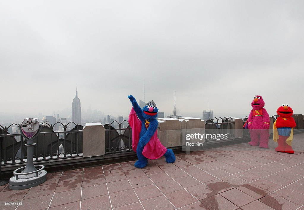 Super Grover, Telly and Elmo visit the Top of the Rock Observation Deck at Rockefeller Center on February 5, 2013 in New York City.
