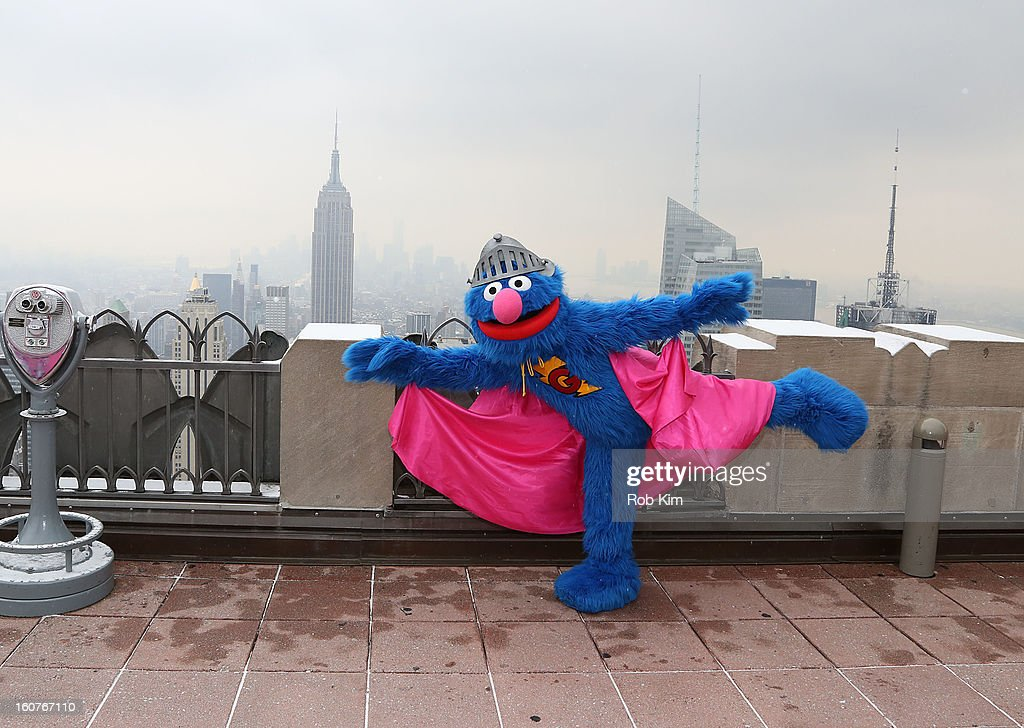 Super Grover visits the Top of the Rock Observation Deck at Rockefeller Center on February 5, 2013 in New York City.