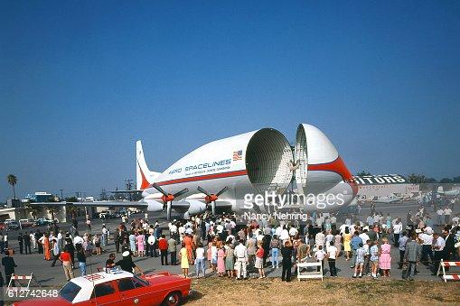 Super Guppy airplane at Van Nuys airport 1965
