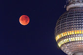 Super harvest blood moon over Berlin