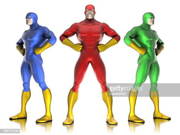 Super hero team - isolated on white with clipping path