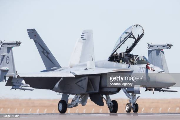 Super Hornet by Boeing operated by the ADF landed taxi's on the runway with its hatch and wings lifted up during the Australian International Airshow...