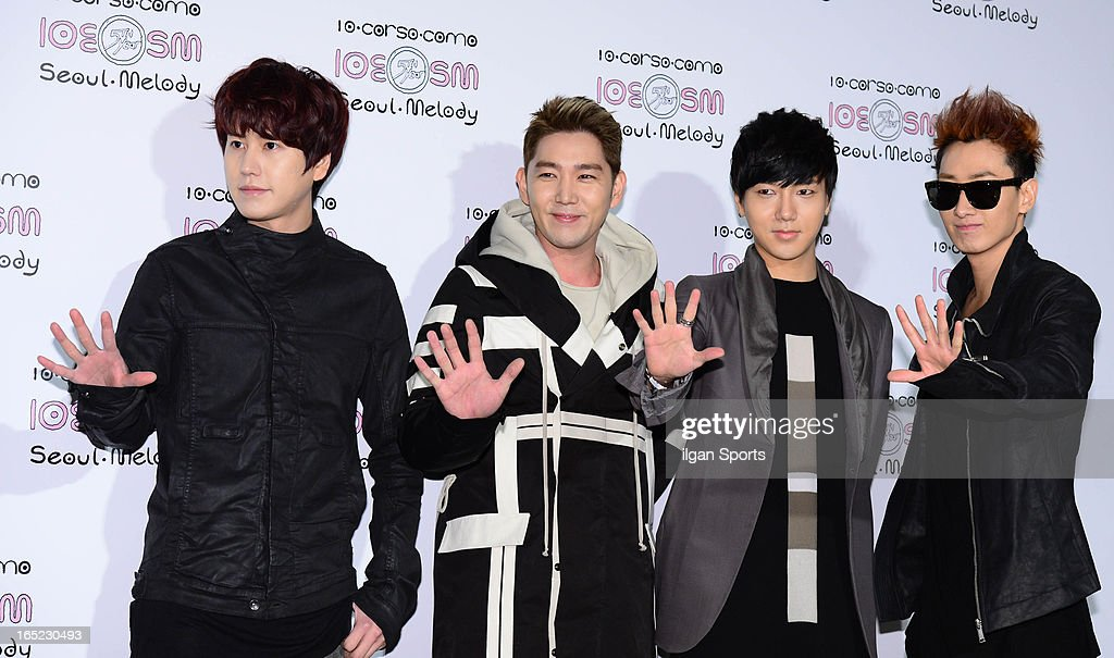 <a gi-track='captionPersonalityLinkClicked' href=/galleries/search?phrase=Super+Junior&family=editorial&specificpeople=561135 ng-click='$event.stopPropagation()'>Super Junior</a> attend the SM '10 Corso Como Seoul Melody' Launch Party on March 28, 2013 in Seoul, South Korea.