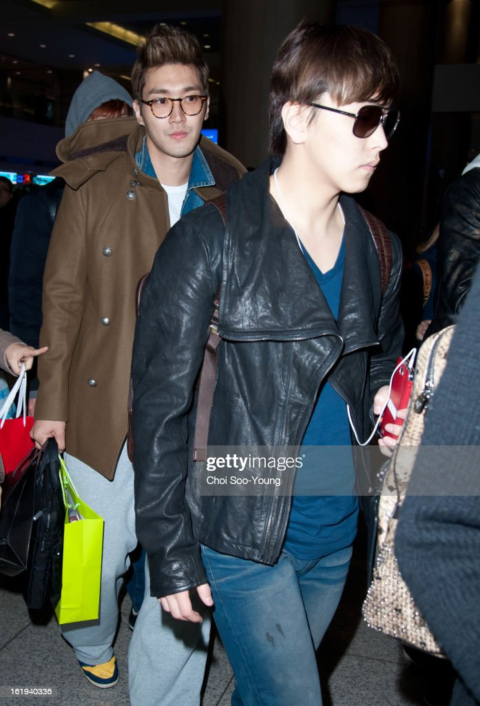 Super Junior is seen at Incheon International Airport on February 18, 2013 in Incheon, South Korea.
