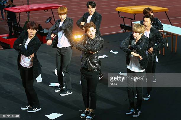 Super Junior pefrom on the stage during SM Town live concert on March 21 2015 in Taipei Taiwan of China