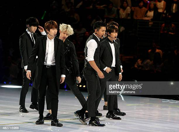 Super Junior perform onstage during KCON 2015 at the Staples Center on August 1 2015 in Los Angeles California KCON is an annual KPop convention held...