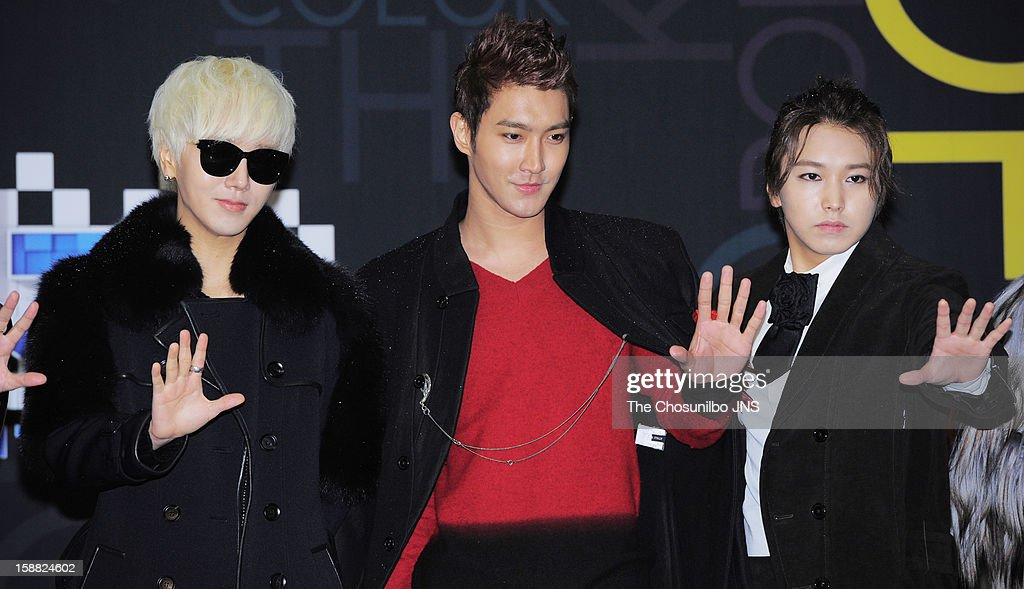<a gi-track='captionPersonalityLinkClicked' href=/galleries/search?phrase=Super+Junior&family=editorial&specificpeople=561135 ng-click='$event.stopPropagation()'>Super Junior</a> pose for photographs during the 2012 SBS The Color Of K-pop at Korea University's Hwa Jung gymnasium on December 29, 2012 in Seoul, South Korea.