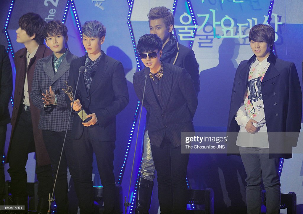 <a gi-track='captionPersonalityLinkClicked' href=/galleries/search?phrase=Super+Junior&family=editorial&specificpeople=561135 ng-click='$event.stopPropagation()'>Super Junior</a> speak onstage during the 22nd High 1 Seoul Music Awards at Olympic Park on January 31, 2013 in Seoul, South Korea.
