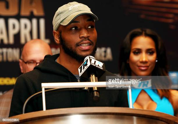 Super Lightweight boxer Mike Reed speaks during a Top Rank Championship Boxing Press Conference on April 06 at MGM National Harbor in Oxon Hill MD