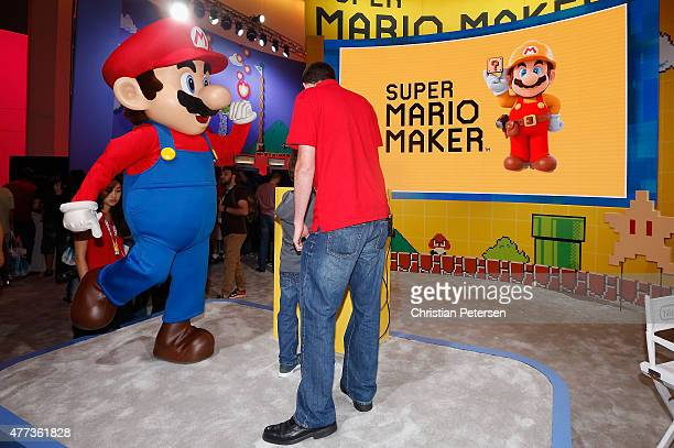 'Super Mario' performs at the Nintendo exhibit during the Annual Gaming Industry Conference E3 at the Los Angeles Convention Center on June 16 2015...