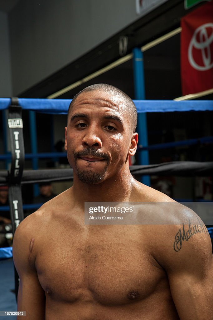 Super Middle Weight <a gi-track='captionPersonalityLinkClicked' href=/galleries/search?phrase=Andre+Ward&family=editorial&specificpeople=217398 ng-click='$event.stopPropagation()'>Andre Ward</a> poses for a portrait during his media day workout at Warzone Boxing Club to promote his November 16 fight with Edwin Rodriguez on November 12, 2013 in Rancho Cucamonga, California.