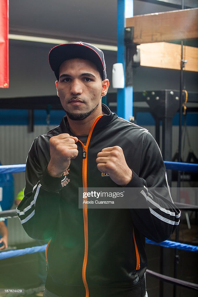 Super Middle Weight Edwin Rodriguez poses for a portrait during a media day workout at Warzone Boxing Club to promote his November 16 fight with Andre Ward on November 12, 2013 in Rancho Cucamonga, California.