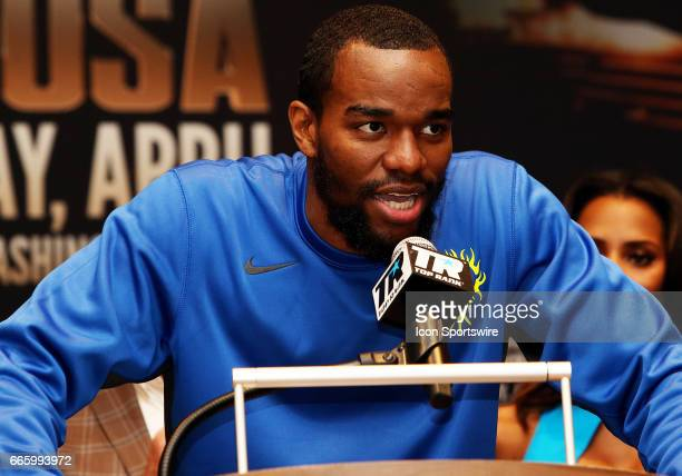 Super Middleweight boxer Jesse Hart speaks during a Top Rank Championship Boxing Press Conference on April 06 at MGM National Harbor in Oxon Hill MD