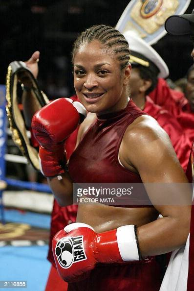 Super Middleweight Champion Laila Ali the daughter of boxing legend Muhammad Ali pose for photo after winning by TKO against Valerie Mahfood at the...