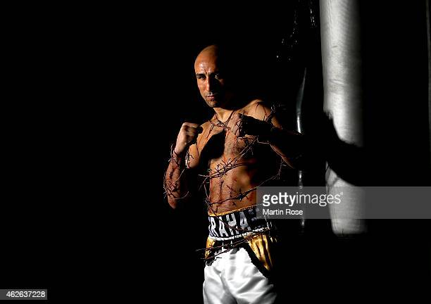 Super middleweight fighter Arthur Abraham of Germany poses during a photocall at his training camp on January 26 2015 in Berlin Germany Arthur...