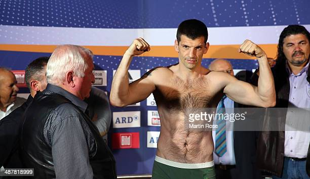Super middleweight fighter Nikola Sjekloca of Montenegro poses during the weigh in at Maritim pro Arte Hotel on May 2 2014 in Berlin Germany