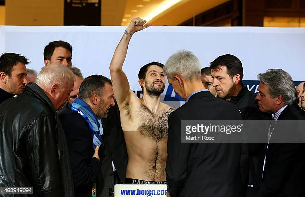 Super middleweight fighter Paul Smith of Great Britain poses during the weigh in at the mall of Berlin on February 20 2015 in Berlin Germany