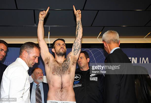 Super middleweight fighter Paul Smith poses during the weigh in at X Tip on September 26 2014 in Kiel Germany