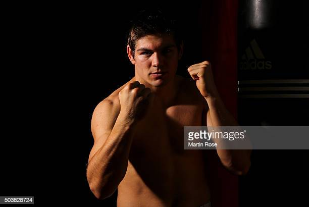 Super middleweight fighter Vincent Feigenbutz of Germany poses during at Portrait Session at Bulldog Gym on January 4 2016 in Karlsruhe Germany