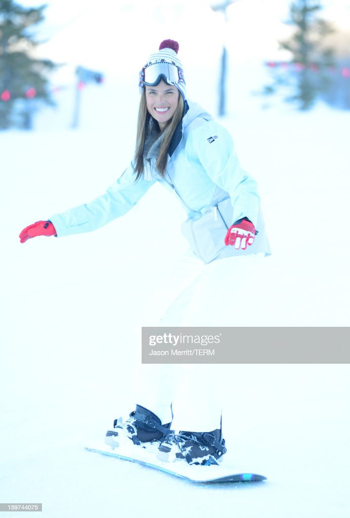 Super Model Alessandra Ambrosio snowboards at the Oakley Learn To Ride In Collaboration With New Era on January 19, 2013 in Park City, Utah.