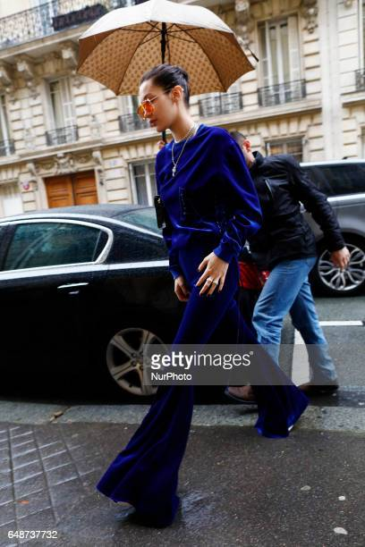 Super Model Bella Hadid seen arriving at a building in Paris France on March 6 2017