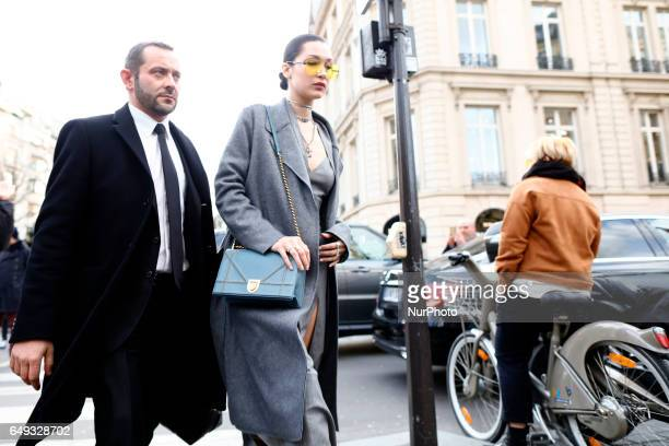 Super Model Bella Hadid seen arriving at a restaurant in Paris France on March 7 2017