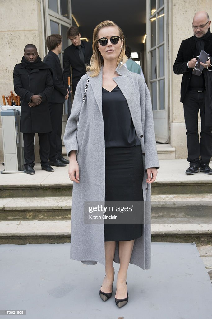Super model <a gi-track='captionPersonalityLinkClicked' href=/galleries/search?phrase=Eva+Herzigova&family=editorial&specificpeople=156428 ng-click='$event.stopPropagation()'>Eva Herzigova</a> on day 4 of Paris Collections: Women on February 28, 2014 in Paris, France.