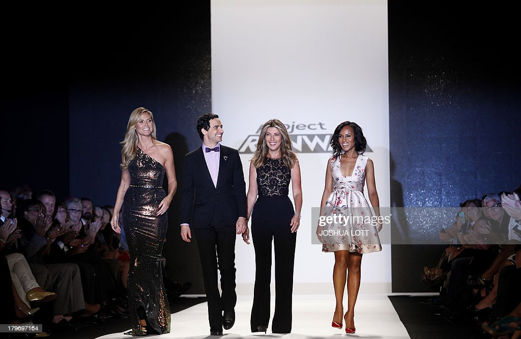 Super model Heidi Klum (L), fashion designer Zac Posen (2nd L), fashion editor Nina Garcia (2nd R) and actress Kerry Washington attend the Project Runway fashion show at the Mercedes-Benz Fashion Week Spring 2014 collections on September 6, 2013 in New York. AFP PHOTO/Joshua Lott