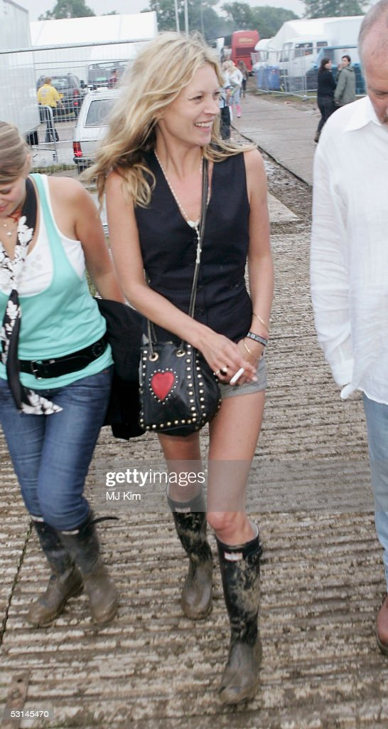 Super model Kate Moss seen at the first day of the Glastonbury Music Festival 2005 at Worthy Farm, Pilton on June 24, 2005 in Somerset, England. The festival runs until June 26.