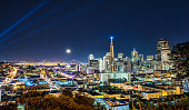 Beautiful Super Moon pver San Francisco Skyline at Night Time
