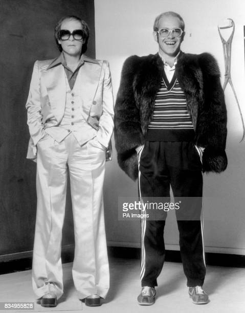 Super pop star Elton John with his wax portrait in Madame Tussaud's studio The figure joined a new version of Heroes a space where figures appear out...